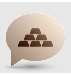 Gold simple sign brown gradient icon on bubble vector