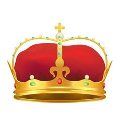 golden monarchical crown with stones on white vector image