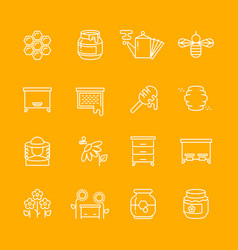 honey apiary thin line icons set vector image