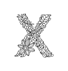 Letter X coloring book for adults vector image vector image