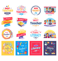 Literacy and teachers day isolated stickers set vector