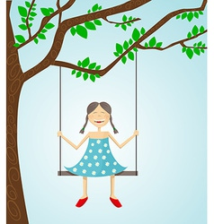 Little girl swinging vector image