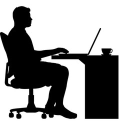Man sitting in an office chair at desk vector