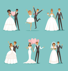 married couple characters set wedding mascot vector image