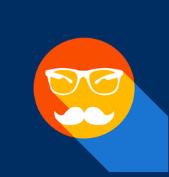 Mustache and glasses sign white icon on vector