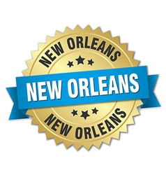New orleans round golden badge with blue ribbon vector