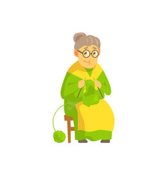 Old lady knitting wool product vector