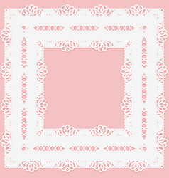 openwork lace frame on a pink background vector image vector image