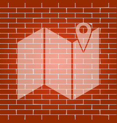 Pin on the map whitish icon on brick wall vector