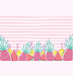 pineapples punchy pastel pattern background vector image