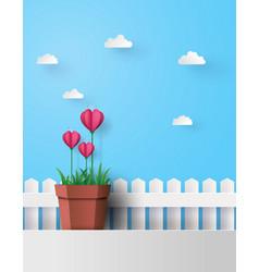 Pink flower heart in pot vector