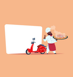 pizza delivery concept african american chef cook vector image vector image