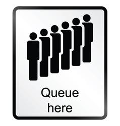 Queue here information sign vector