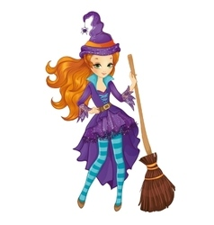 Red Hair Witch With Broom vector image