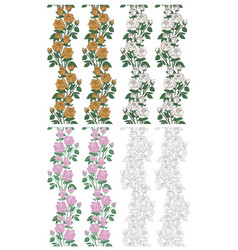 seamless backgrounds with roses on white vector image vector image