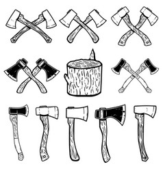 Set of the wood cuts lumberjack axes design vector