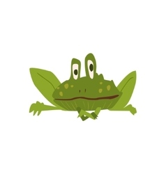 Sitting toad flat cartoon stylized vector