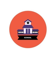 stylish icon in color circle building school vector image vector image