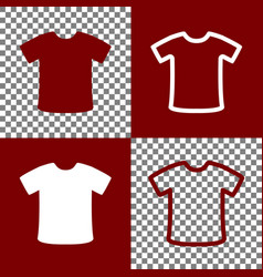 T-shirt sign bordo and white icons and vector