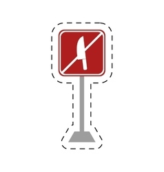 traffic prohibited knife arm weapon vector image