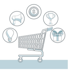 White background with color sections of shopping vector