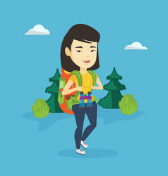 Woman with backpack hiking vector