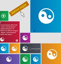 Ying yang icon sign metro style buttons modern vector