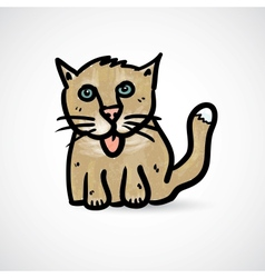 Doodle cat with grunge texture vector image
