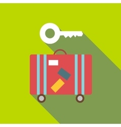 Red suitcase and key icon flat style vector
