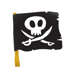 Cartoon style grunge traditional black pirate flag vector
