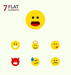 Flat icon emoji set of angel delicious food grin vector