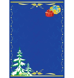 Dark blue card with new year tree vector
