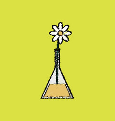 Flat shading style icon flower in test tube vector