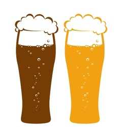 Light and dark beer glasses vector