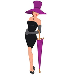Cartoon young woman in mini black dress with vector