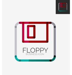 Minimal line design logo floppy icon vector
