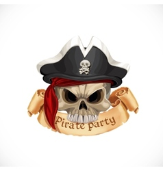 Emblem for pirate party with a skull wearing a hat vector