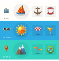 Travel polygonal banners vector