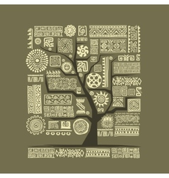 Ethnic tree with handmade ornament for your design vector