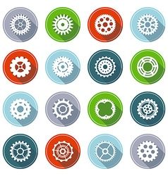 Set of flat gear icons with long shadow vector