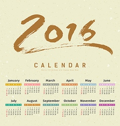 Calendar 2016 text paint brush vector image