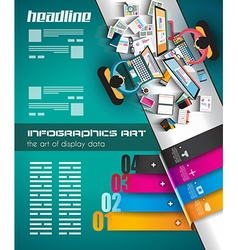 Infographic teamwork and brainsotrming with flat vector