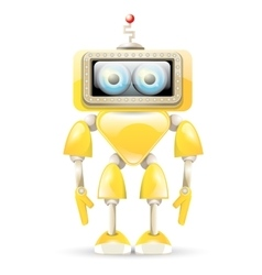 Orange cartoon robot isolated on white vector