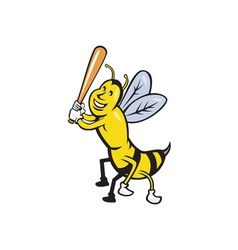 Killer bee baseball player batting isolated vector