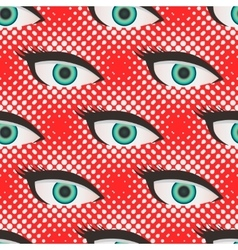Pop art style halftone eyes pattern vector