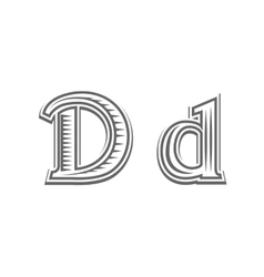 Font tattoo engraving letter d vector