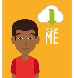 Follow me social trendy vector