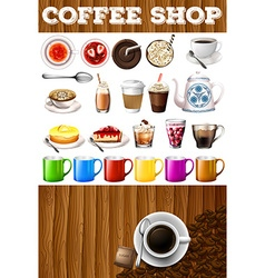 Different kind of drinks and desserts in coffee vector