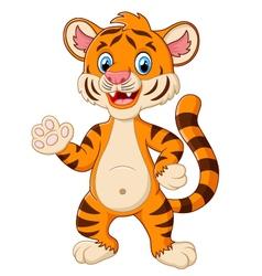 Happy tiger waving a hand vector image