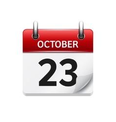 October 23 flat daily calendar icon date vector